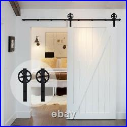 4FT 20FT Track Sliding Barn Door Hardware Kit for Single / Double Wood Doors