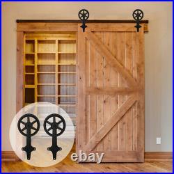 4FT-20FT Track Sliding Barn Door Hardware Kit for Wood Single / Double Doors
