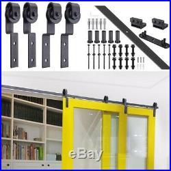 4FT/5FT/12FT/6.6FT Bypass Sliding Double Barn Door Hardware Roller Track Kit