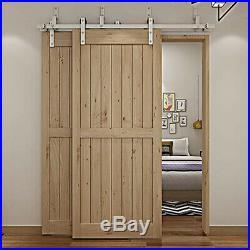 4FT Bypass Sliding Barn Door Hardware Track Kit Stainless Steel Interior Closet