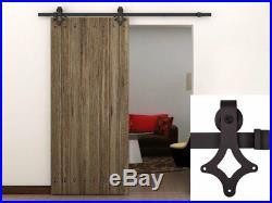 4-12FT Country Black Single Wood Sliding Barn Door Closet Hardware Track Kit