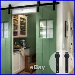 4-16FT Sliding Barn Door Hardware Closet Track Kit Single/Double/Bypass 2 Doors