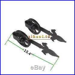 4-16FT Sliding Barn Door Hardware Industrial Spoke Wheel Track Kit Single&Double