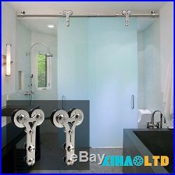 4-16FT Stainless Steel Glass/Wood Sliding Barn Door Hardware Kit Single/Double