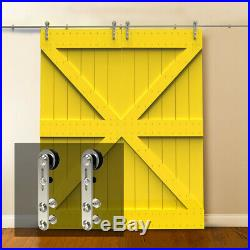 4-16FT Stainless Steel Round Sliding Barn Door Hardware Closet Kit Single/Double