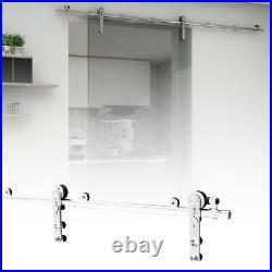 4-16FT Stainless Steel Sliding Door Track Hardware Kit Closet for Glass Door