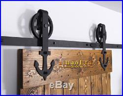 4-16FT Vintage Strap Industrial Big Spoke Wheel Sliding Barn Door Hardware Kit