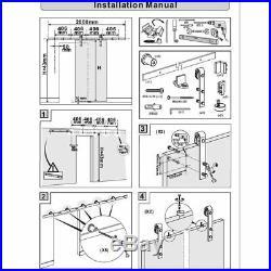 4-16FT White Antique Style Steel Sliding Barn Wood Door Hardware Track Kit