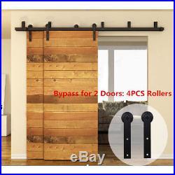 4-16FT Wood Sliding Barn Door Hardware Closet Track Kit Single/Double/Bypass
