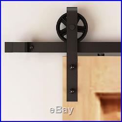 4-16ft Vintage Strap Spoke Wheel Double Sliding Barn Wood Door Hardware TrackKit