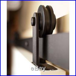 4-18FT Antique Top Mounted Sliding Barn Door Hardware Kit Black Powder Coating