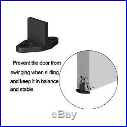 4-18FT Bypass Sliding Barn Door Hardware Track Kit Black Wheel Interior Closet