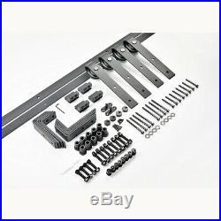4-18FT Bypass Sliding Barn Door Hardware Track Kit Closet J Shape Bracket 2 Door
