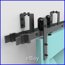 4-18FT Bypass Sliding Barn Hardware Track Kit Close 4 Doors Garage 8 Hanger New