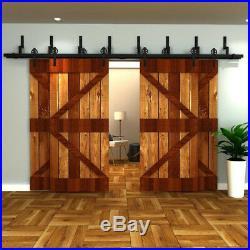 4-18FT Bypass Spoke Wheel Sliding Barn Door Hardware Heavy duty Roller 4 Doors
