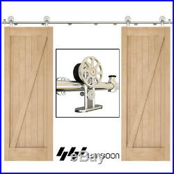 4-18FT Double Sliding Barn Door Hardware kit Closet Stainless Steel Top Mounted