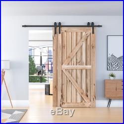 4-18FT Single Track Bypass Sliding Barn Door Hardware Kit Cabinet For 2 Doors