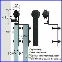 4-18FT Single Track Bypass Sliding Barn Door Hardware Kit Closet For 2 Doors