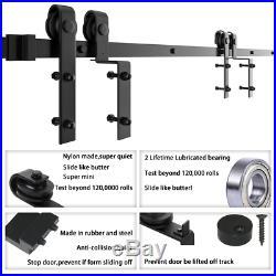 4-18FT Single Track Bypass Sliding Barn Door Hardware Kit For Double Door Closet