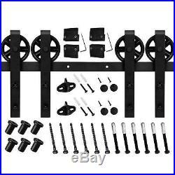 4-18FT Soft Close Industrial Black Wheel Sliding Barn Door Hardware Track Kit