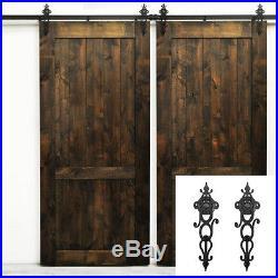 4-18FT Vintage Double Floral Sliding Barn Door Hardware kit Sliding Doors Track