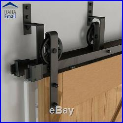 4-18' Rustic Bypass Sliding Barn Door Hardware Double Track Big Wheel Hanger Kit