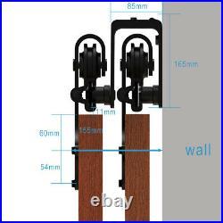 4-20FT Bypass Sliding Barn Door Hardware Kit Closet Track Roller for Double Door