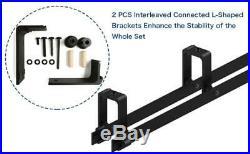 4-20FT Carbon Steel Sliding Barn Door Hardware Kit For Single/Double/Bypass Door