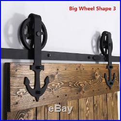 4-20FT Industrial Spoke Wheel Sliding Barn Door Hardware Track Kit Single/Double