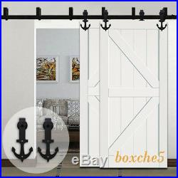 4-20FT Sliding Barn Door Hardware Closet Anchor Rail Kit for One/Two/Bypass Door