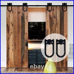 4-20FT Sliding Barn Door Hardware Kit U-Shape Horseshoe for Single/Double/Bypass
