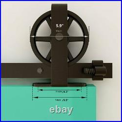 4-20FT Sliding Barn Door Track Hardware Kit Big Wheel T Hanger Set, Single/Double