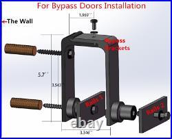 4-20FT Sliding Barn Wood Door Hardware Sliding Track Kit For Bypass 2 Doors