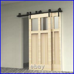 4-20FT Sliding Barn Wood Door Hardware Track Kit J Shape Hanger Bypass 2 Doors