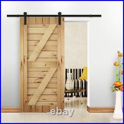 4-8FT Antique Single Sliding Barn Wood Door Hardware Closet Roller Track Kit