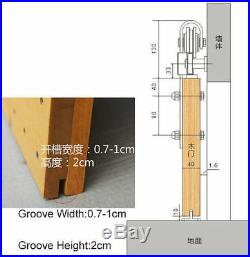 4-8FT Rustic Interior Stainless Steel Sliding Barn Door Hardware Track Rollerkit