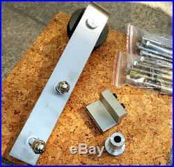 4-8FT Stainless Steel Double Wood Sliding Barn Door Hardware Track Kit Interior
