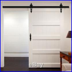 4-9FT track& Black Rollers & Door Handle for Sliding Wood Barn Door Hardware Kit