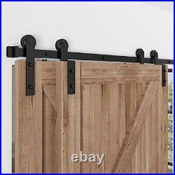 4 FT- 12 FT Bypass Sliding Barn Door Hardware Kit, Single Track, Double 5 Feet