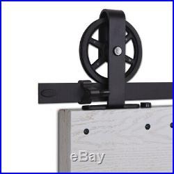 4ft-12ft Sliding Wood Barn Door Hardware Closet Rail Kit For Single/Double Doors