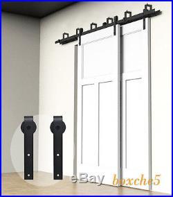 4ft 16ft Sliding Barn Door Hardware Kit Closet Rail Roller Set Byp Two Doors