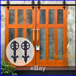 516FT Sliding Wood Barn Door Hardware Kit for Two Doors 14 Style Roller Hanger