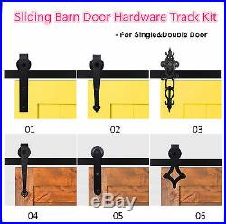 5FT-12FT Antique Sliding Barn Wood Door Hardware Closet Track Set Single/Double