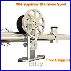 5FT-16FT Stainless Steel Sliding Barn Door Hardware Tube Set Brushed Nickel