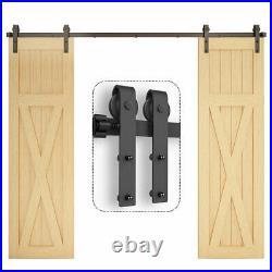 5FT-20FT Sliding Door Hardware Kit Track Roller Closet Accessory for Double Door