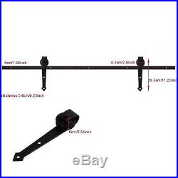 5FT Black Single Wood Door Hardware Sliding Rolling Barn Closet Track Kit Set