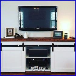 5FT Mini Small Double Sliding Barn Door Hardware Closet TV Stand Track Kit Rail