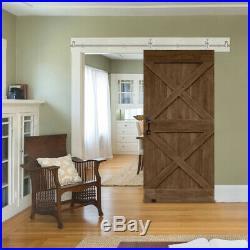 5FT Single Sliding Barn Door Hardware Track Kit Modern Stainless Steel Closet