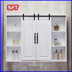 5FT Steel Sliding Barn Wood Double Doors Cabinet Closet Hardware Track Kit Set