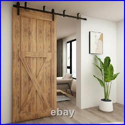 5-12FT Ceiling Bracket Mount Sliding Barn Door Hardware Kit Single/ Double Door